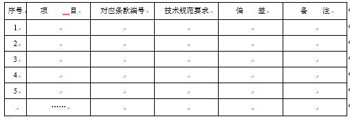 表5投标人技术偏差表